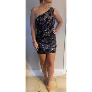 Jovani One Shoulder Sequin Mini